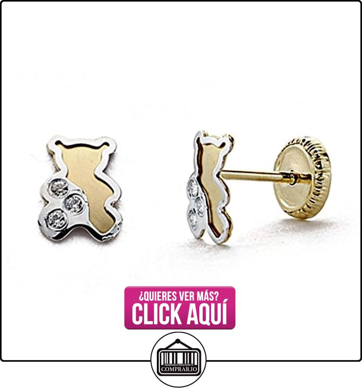 Pendientes oro 18k bicolor 6mm. circonita oso tornillo [8012]  ✿ Joyas para mujer - Las mejores ofertas ✿ ▬► Ver oferta: http://comprar.io/goto/B00OY1J96M
