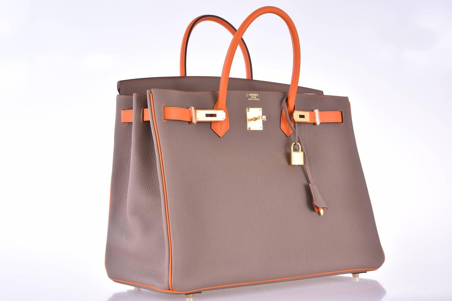 bb336e2fbaab Hermes Birkin Bag Etoupe 40cm Special Order with Orange Gold Hardware