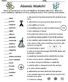 Atoms Atomic Match Science Activities 8th Grade Science Atom