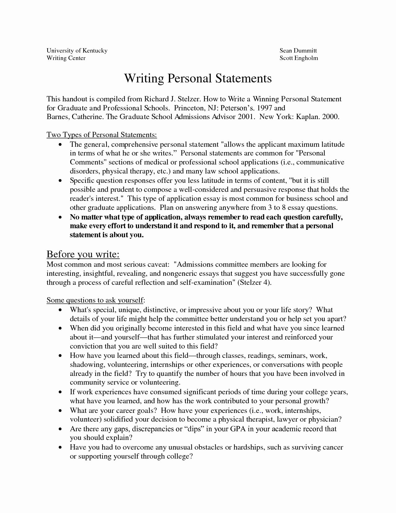 Personal Statement For School Luxury Sample Graduate Essay What To Put In A