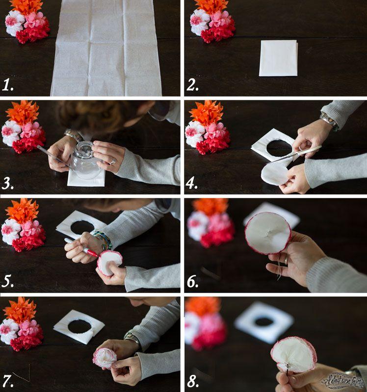 diy-fleur-rose-papier (748×800) | fleurs en papier | pinterest