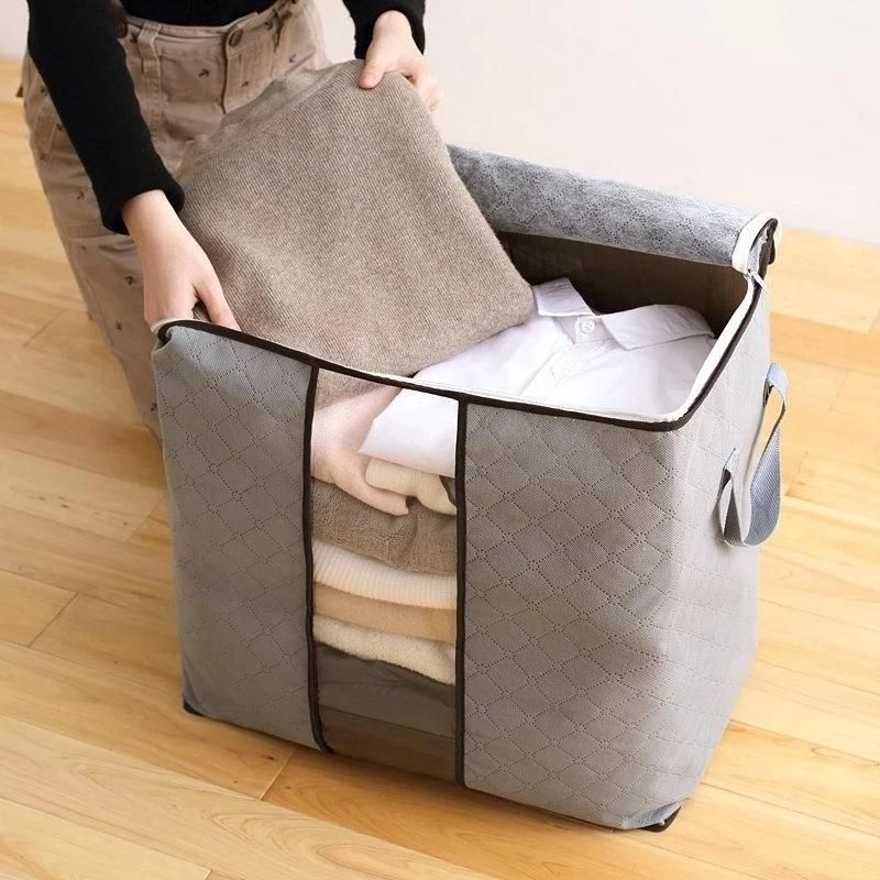 62l Folding Bamboo Charcoal Clothes Storage Bag Quilt Storage Bag Storage Storage Bags For Clothes