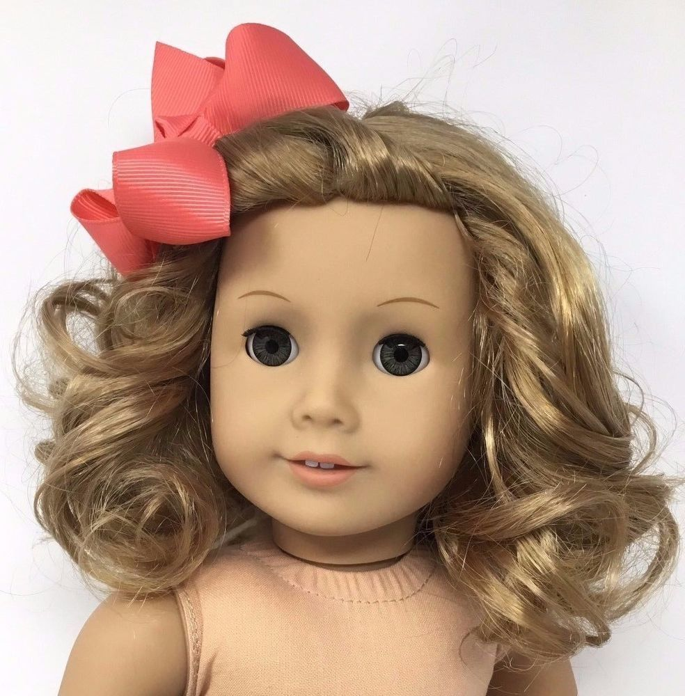 American Girl Doll Curly Blonde Hair Hazel Eyes Green Brown Eyes