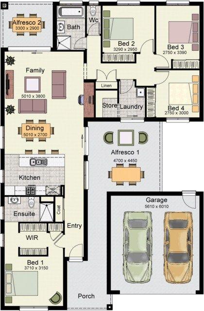 planos de casas una planta 4 dormitorios