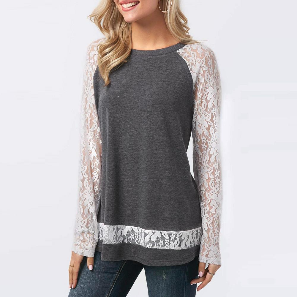 a85710a82b4b7a Long Sleeve Top With Lace Split