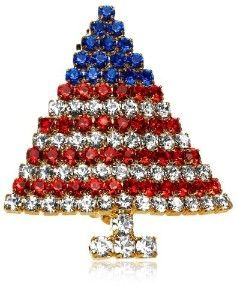 Crystal American Flag Christmas Tree Pin By Margot #USA, #americanflag,  #pinsland