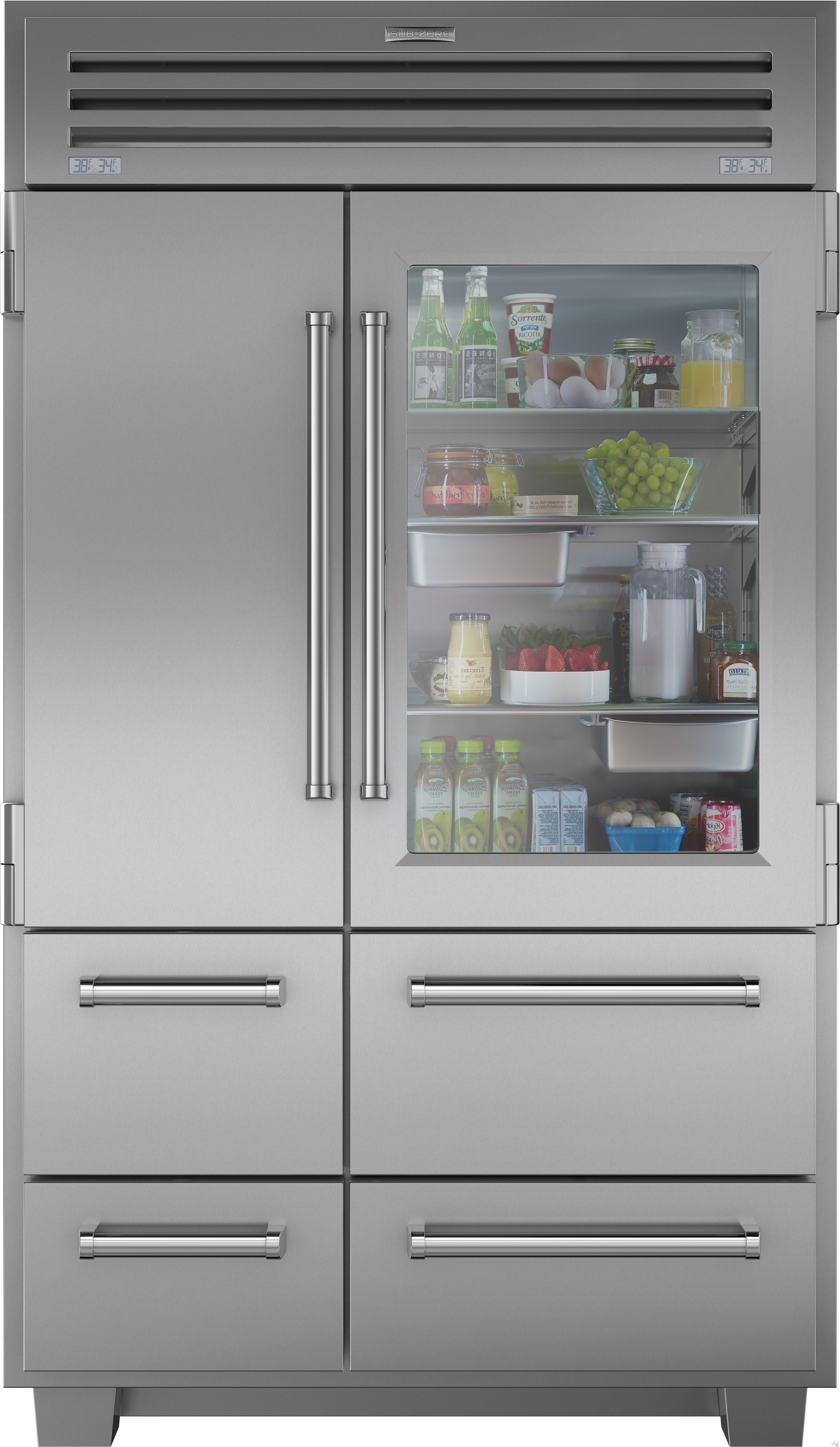 "Sub Zero 648PROG 48"" Built in Side by Side Refrigerator with 3"