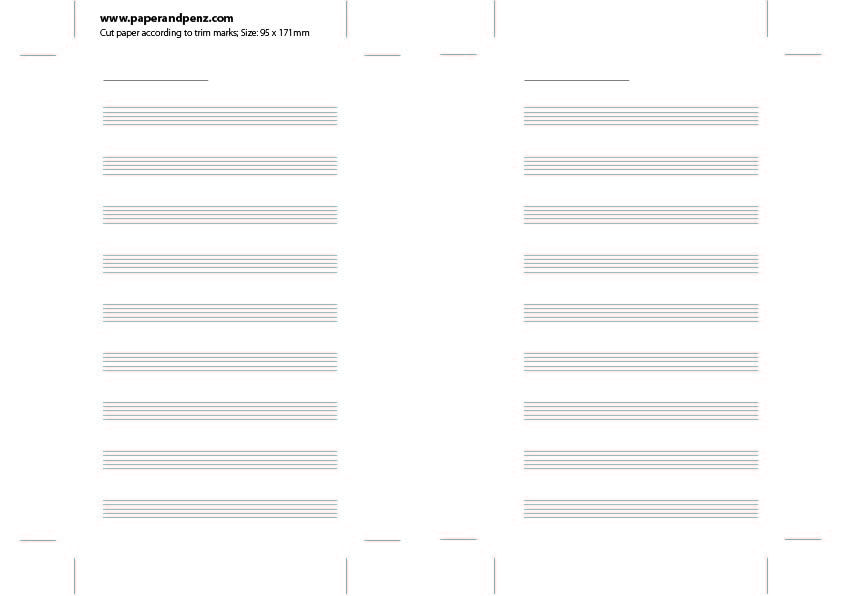 Free Printable Music Paper at Filofax Personal Size Inserts