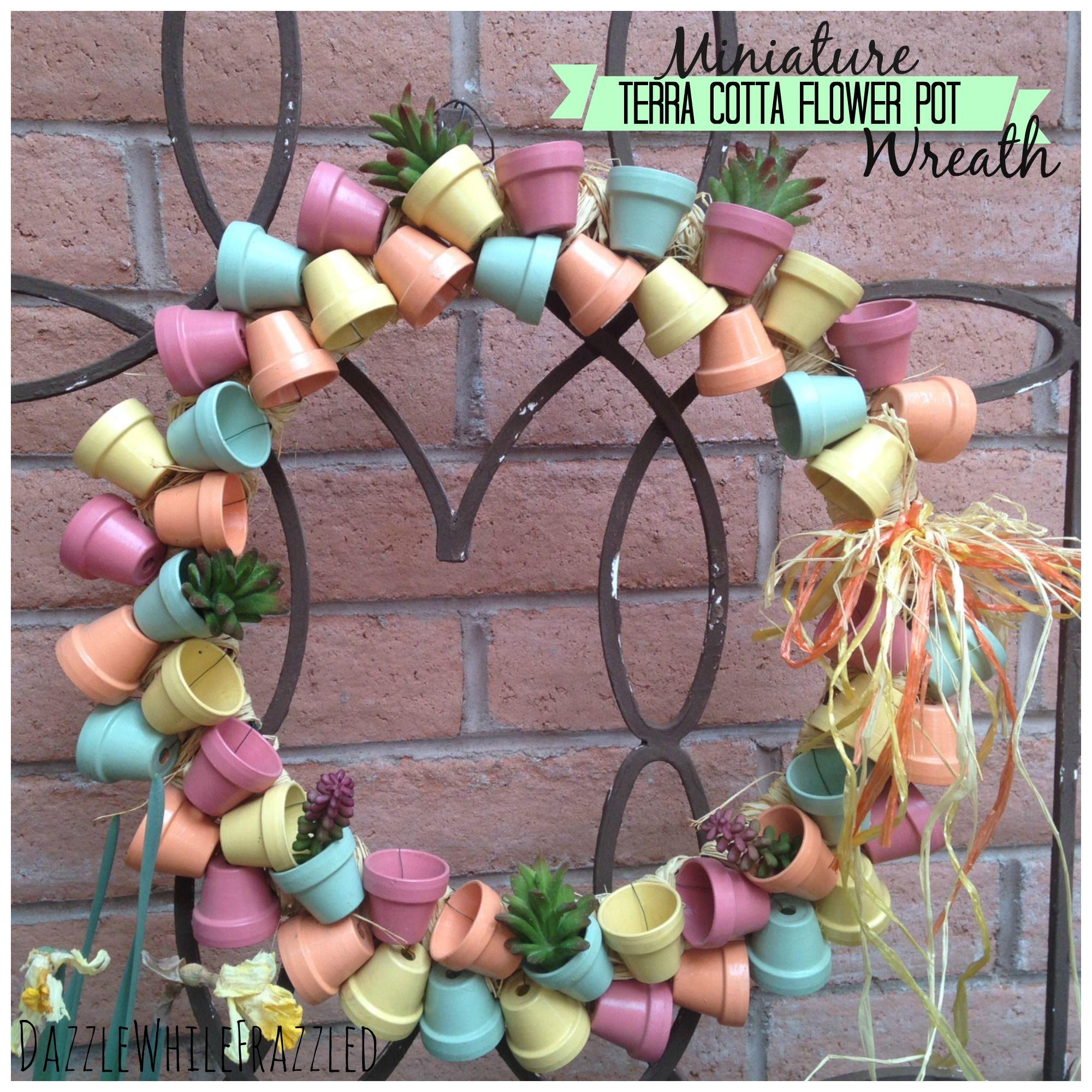 Miniature Terra Cotta Flower Pot Front Door Wreath / via DazzleWhileFrazzled blog