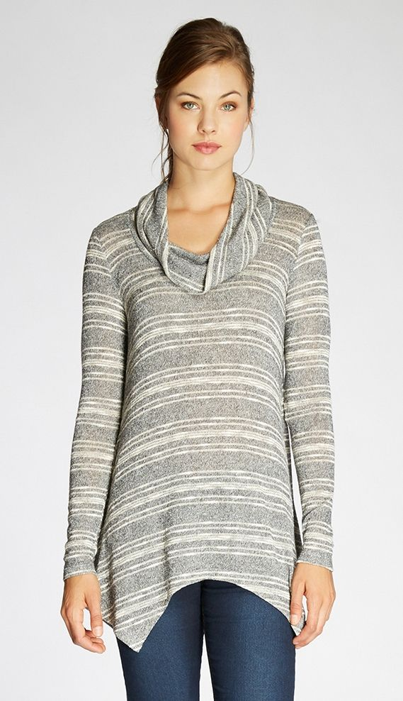 4ca4d564ba Stripe Cowl Neck Tunic in Heather-Grey
