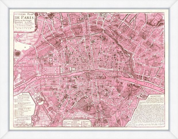 this pretty pink map of paris screams Valentine's Day