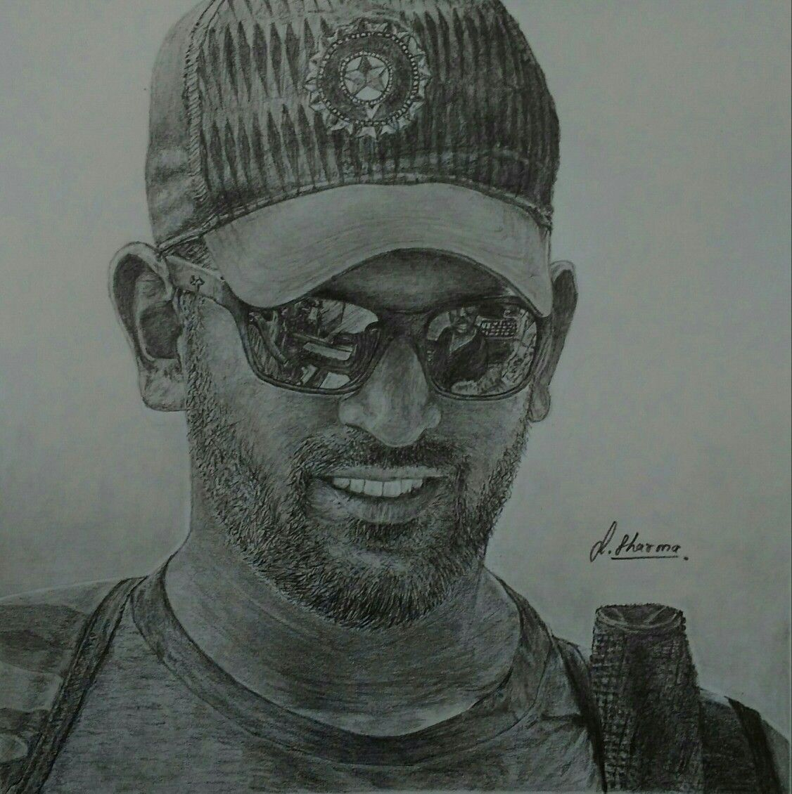 Drawing of ms dhoni dhoni indiancricketer
