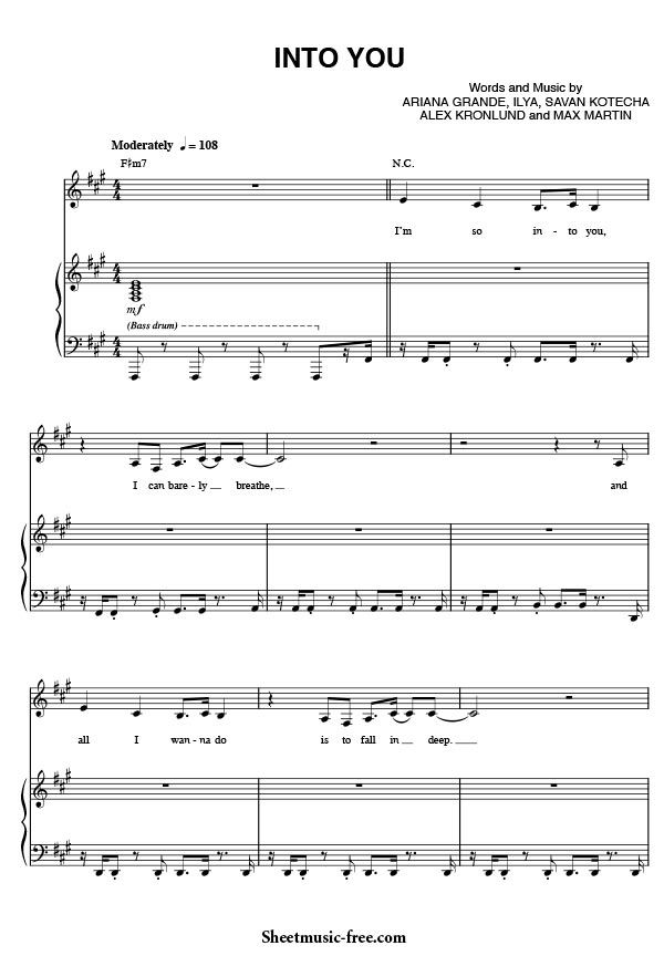 All Music Chords fall for you sheet music : Into You Sheet Music, Into You Piano Sheet Music, Ariana Grande ...
