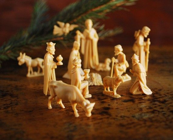 vintage ivory nativity figures from Germany
