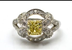 Yellow diamond cushion cut engagement ring Access code:526892