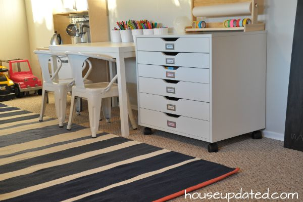 Beautiful Arts And Crafts Drawers With Kid Play Table