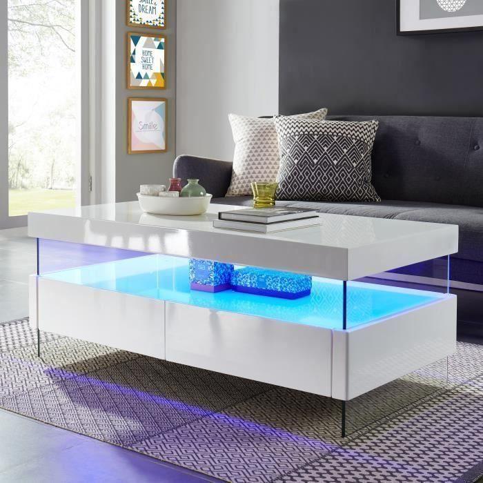 nouveau concept 5b4dd 61cf4 SEZANNE Table basse avec LED style contemporain laqué blanc ...