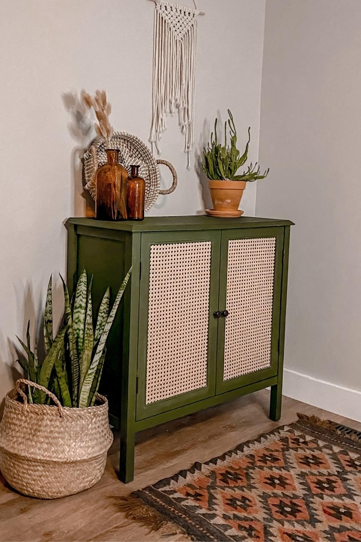 Beautiful Boho DIY Cane Cabinet Makeover - Palmett