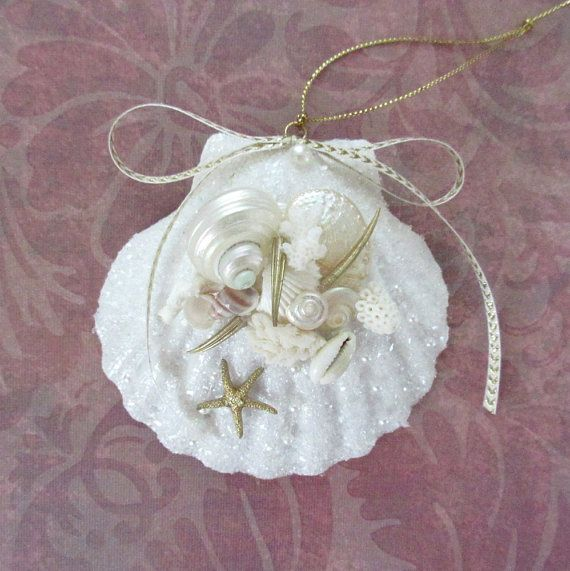 Glittered Seashell Ornament Scallop Shell by CoastalGlamour