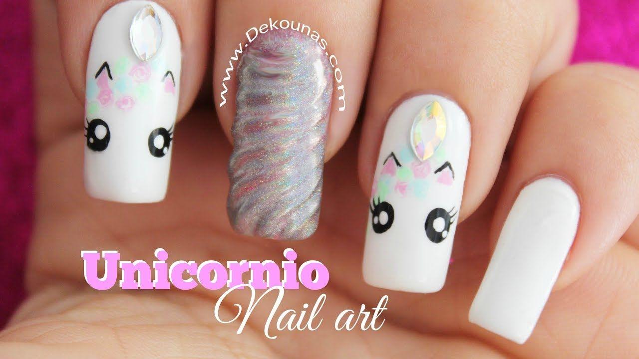 Decoracion De Unas Unicornio Unicorn Nail Art Nails