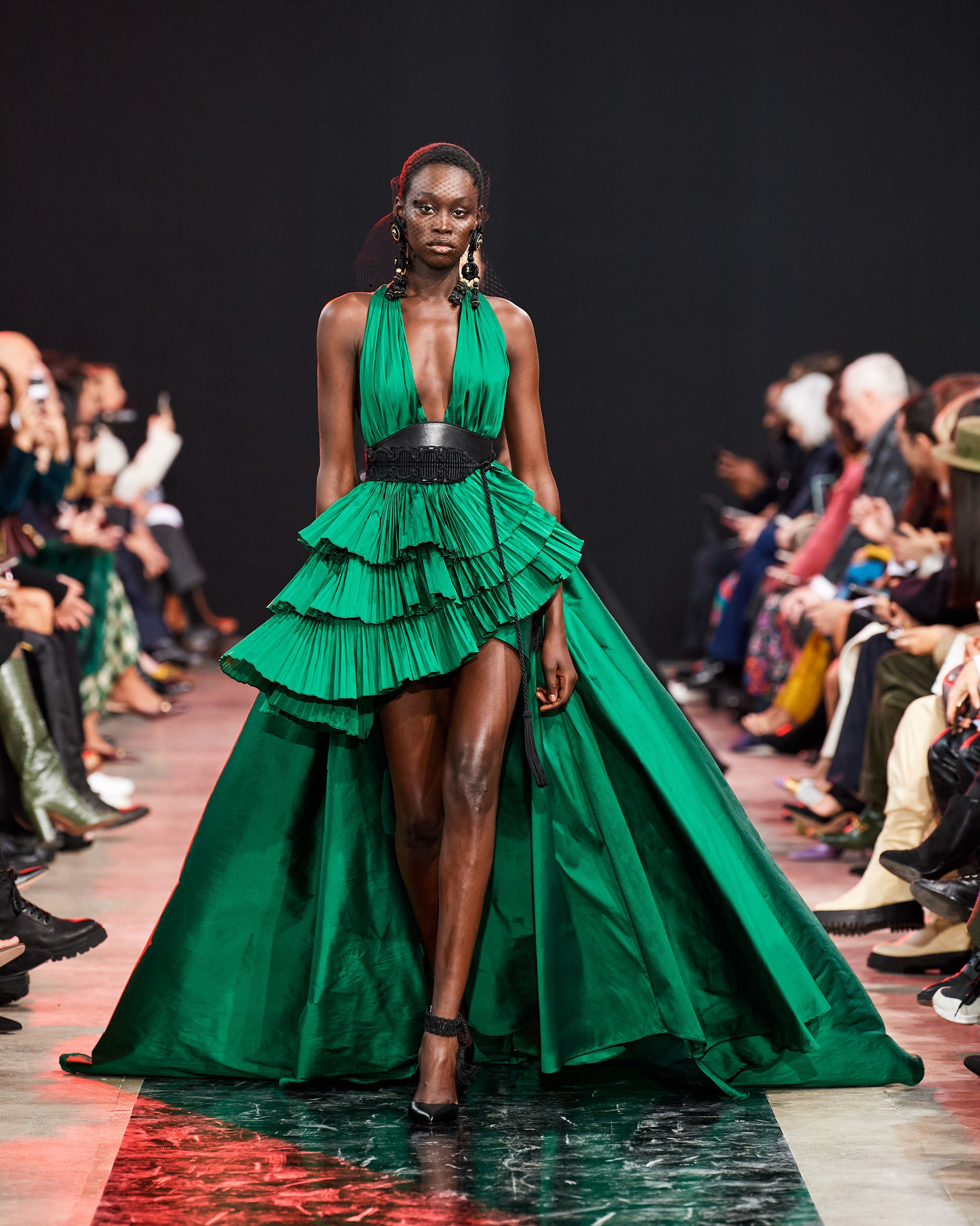 Paris Fashion Week Fw 2020 Elie Saab Front Pleat High Low Dress Clothia In 2020 Fashion Ready To Wear Fashion Show