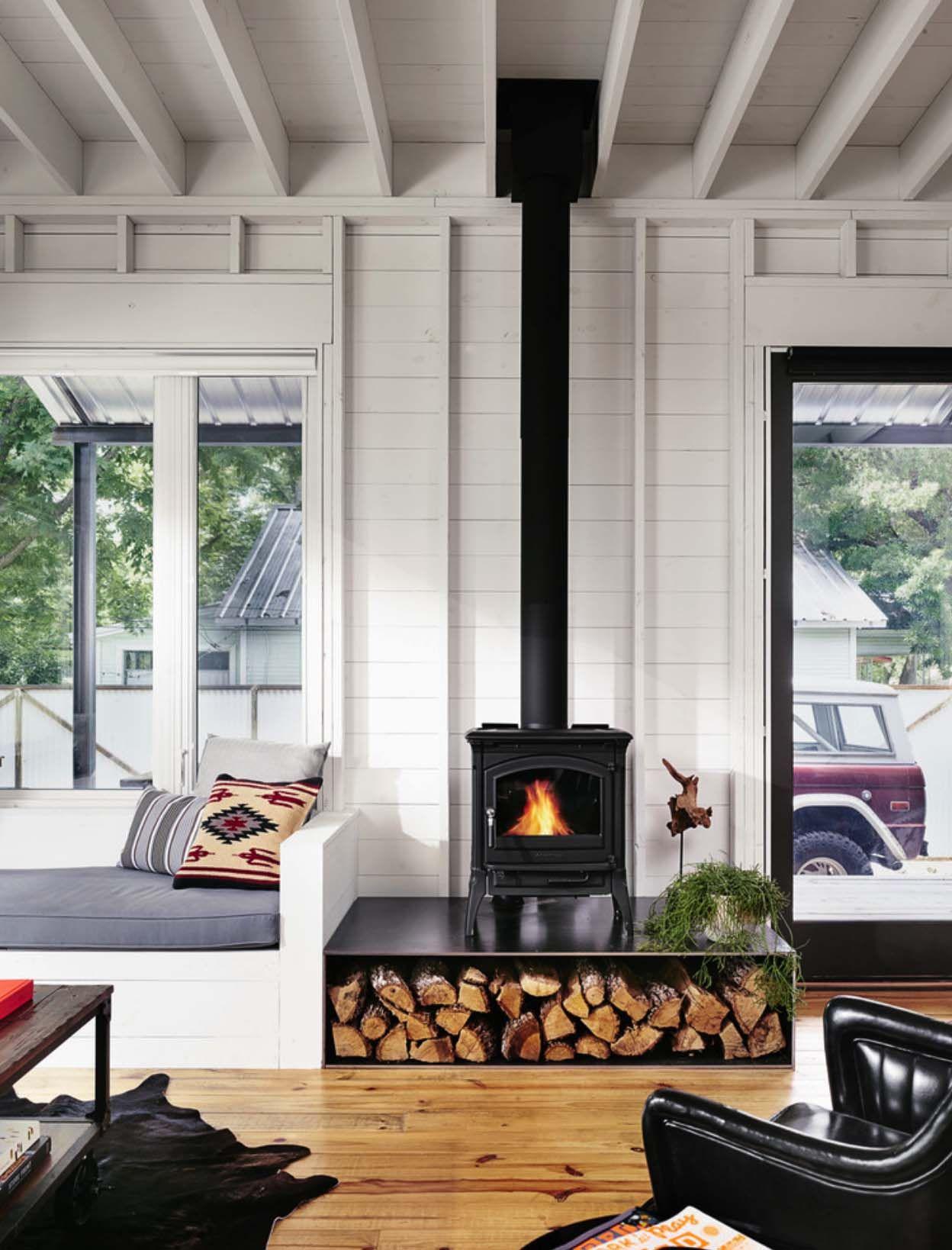 Small energy-efficient farmhouse in Austin designed for a bachelor #modernfarmhousestyle