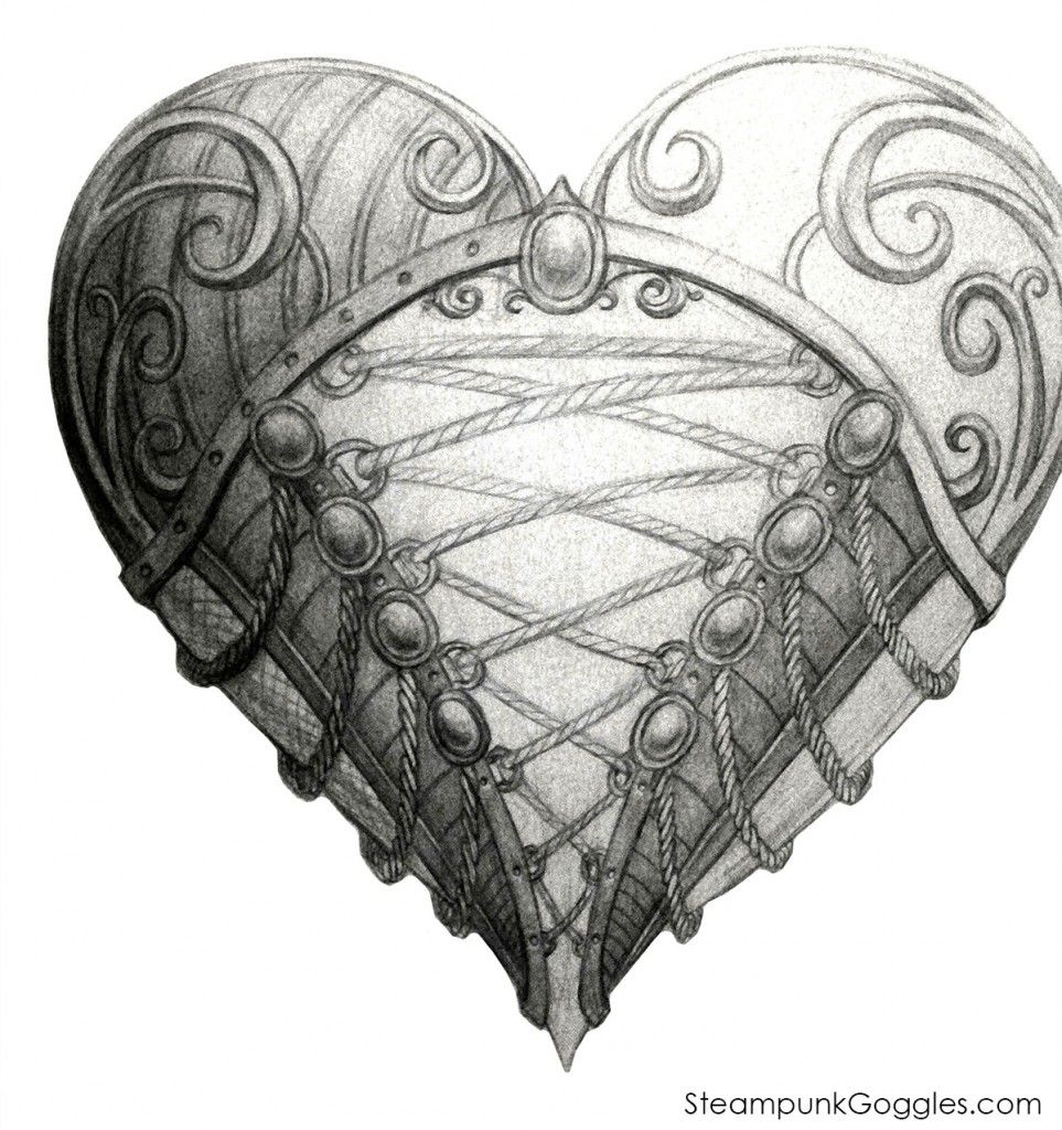 steampunkgoggles heart ace sketch 1200 doodles tangles