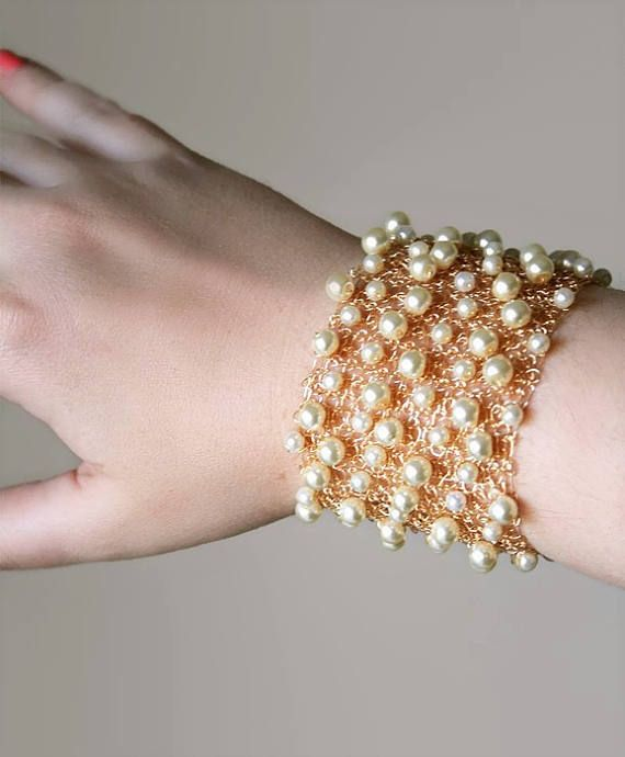 elegant bracelet bridal bracelet Silver wire crochet wide bangle bracelet with big pearl gift for girlfriend jewelry gift gift for her