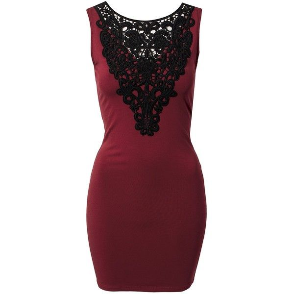 Ax Paris Crochet Front Bodycon Dress (€32) ❤ liked on Polyvore featuring dresses, vestidos, burgundy, party dresses, womens-fashion, rayon dress, crochet bodycon dress, macrame dress, red cocktail dress and bodycon dress