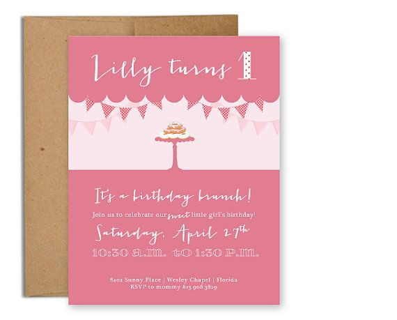 Birthday Brunch First Birthday Invitation by lemonandlavender - invitation card for ist birthday