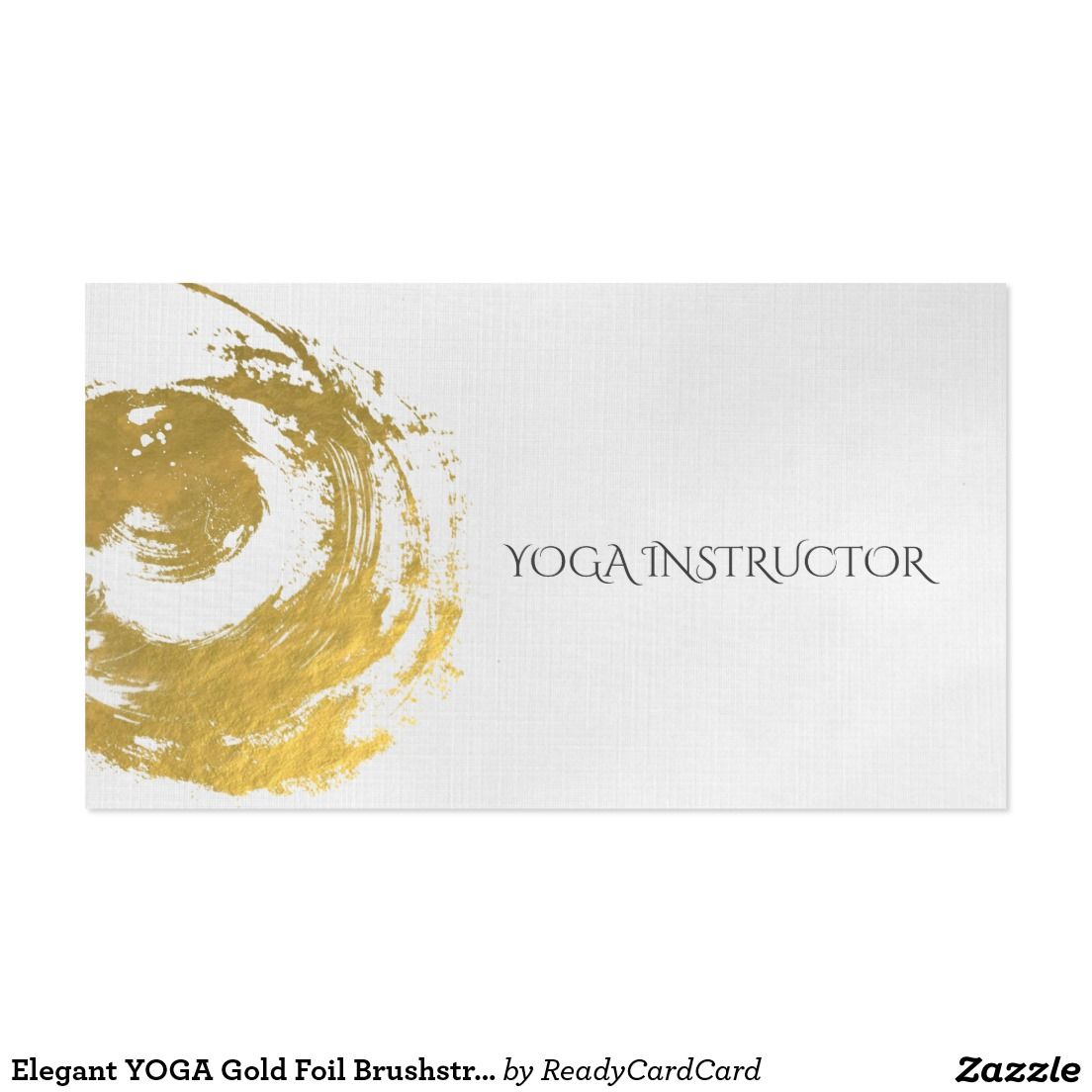 Elegant YOGA Gold Foil Brushstrokes ZEN Symbol Business Card | YOGA ...