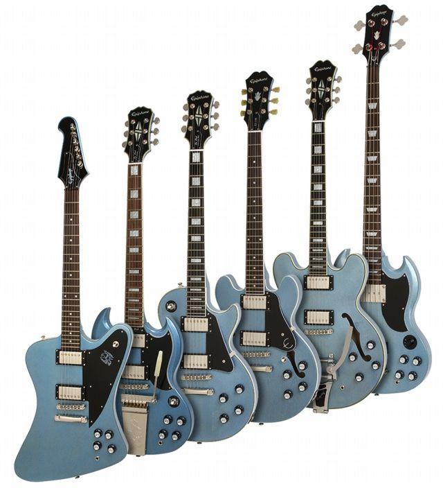 Epiphone Limited Edition TV Pelham Blue Collection 2013 - Ltd. Ed. Firebird Studio, Ltd. Ed. TV Pelham Blue SG Custom w/Maestro, Ltd. Ed. TV Pelham Blue Les Paul Custom PRO, Ltd. Ed ES-339 PRO, Ltd. Ed. ES-355, Ltd. Ed. EB-3