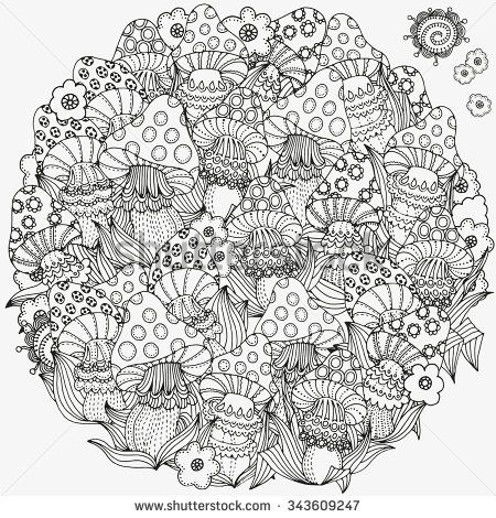 Circle Ornament Pattern For Coloring Book In Vector Fantasy Fairy Mushrooms In The Magic Fores Unicorn Coloring Pages Coloring Pages Christmas Coloring Pages