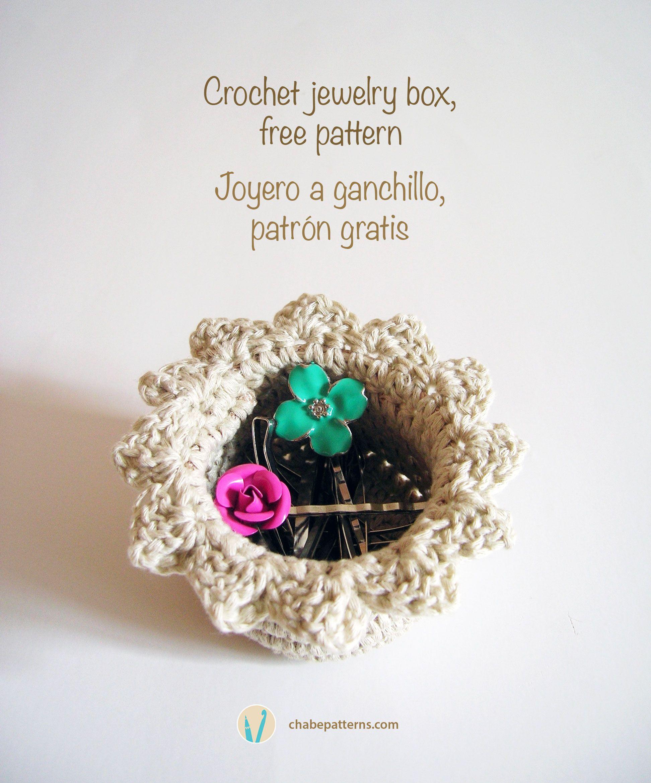 Crochet jewelry box/ Joyero a ganchillo | CROCHET BAGS/BOWLS/POUCHES ...