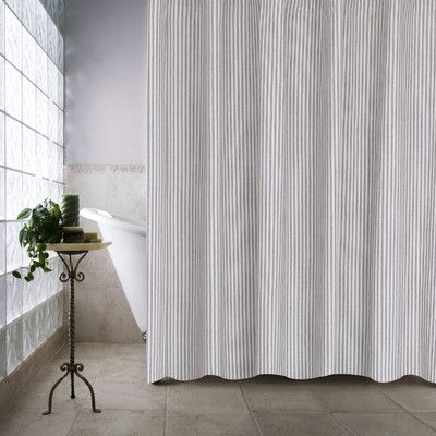 Gray Ticking Stripe Shower Curtain Farmhouse Bathroom