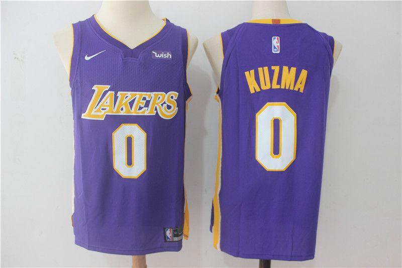 New Nike Kyle Kuzma 0 Lakers Yellow White Purple Throwback Blue Basketball Jerseys Kyle Kuzma Nike Basketball Jersey Basketball Jersey