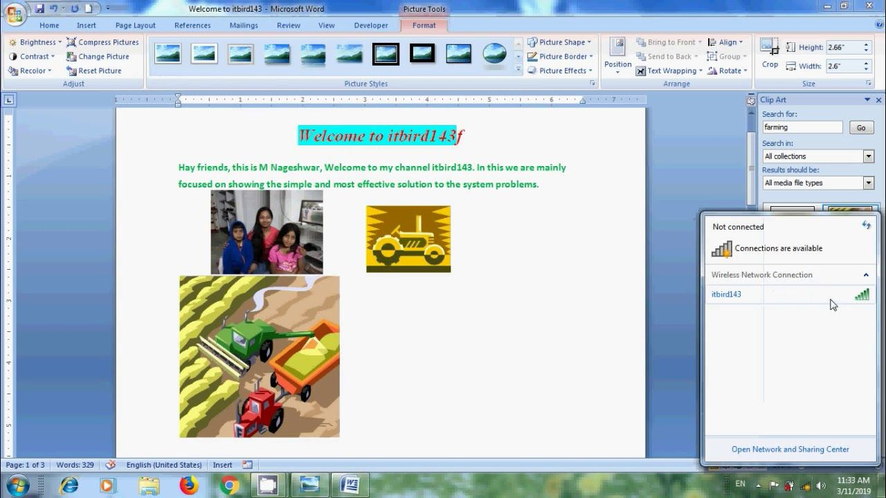Word 2007 How To Insert Clipart In Microsoft Word Document Microsoft Word Document Word 2007 Microsoft Word