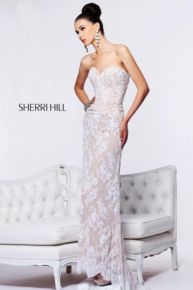 2013 Sherri Hill 21025 Lvory Nude Silver Homecoming Dresses   Sherri ...