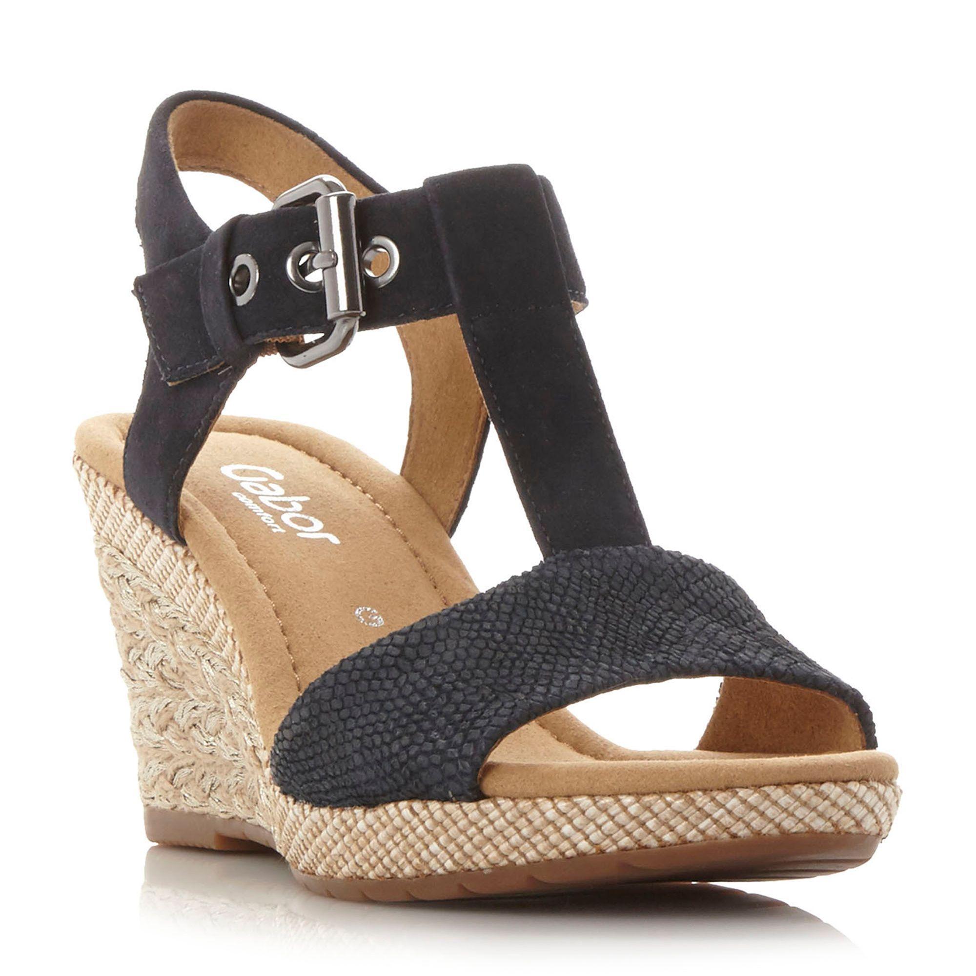 Gabor Karen buckle wedge sandals, Navy