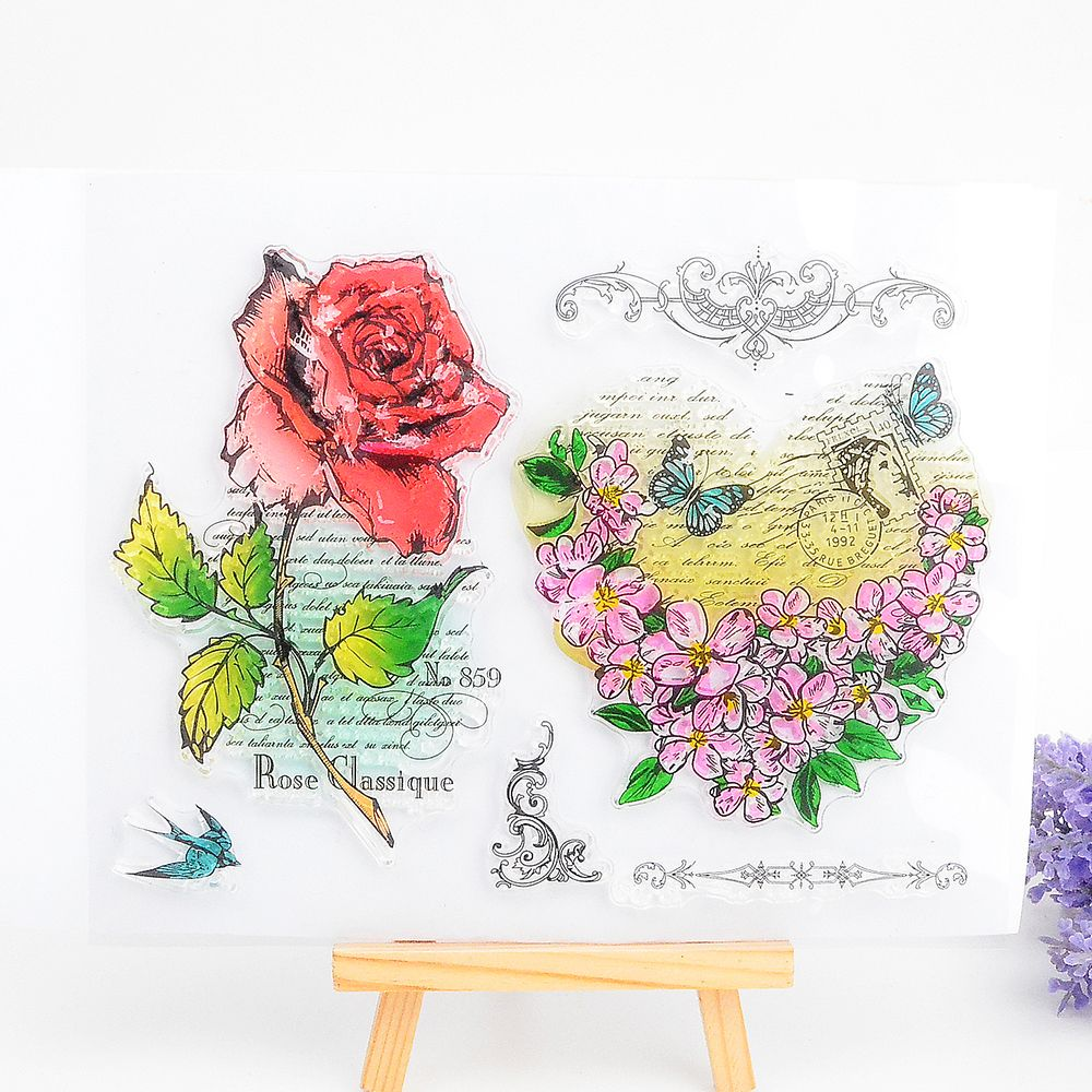 Reliable Rose Flowers Transparent Clear Silicone Stamp Or Cutting Dies For Diy Scrapbooking/card Making Decoration Supplies Stamps Home & Garden