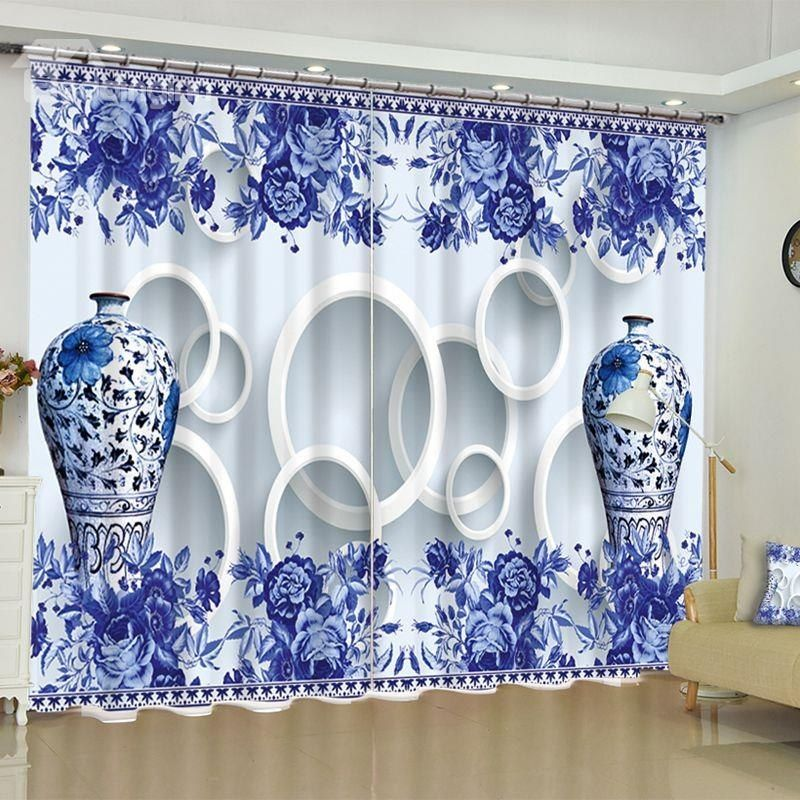 3D Elegant Blue and white Porcelain Printed 2 Panels Custom Bedroom Window Drape is part of bedroom Window Drapes - 3D Elegant Blue and white Porcelain Printed 2 Panels Custom Bedroom Window Drape  on sale, Buy Retail Price 3D Floral Curtains at Beddinginn com
