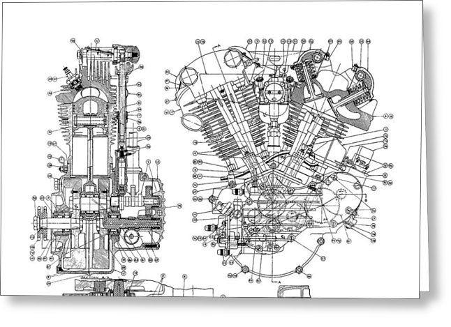image result for harley knucklehead art motorcycle pinterest rh pinterest ca Harley Engine Diagram Knucklehead Harley Engine Panhead Drawing