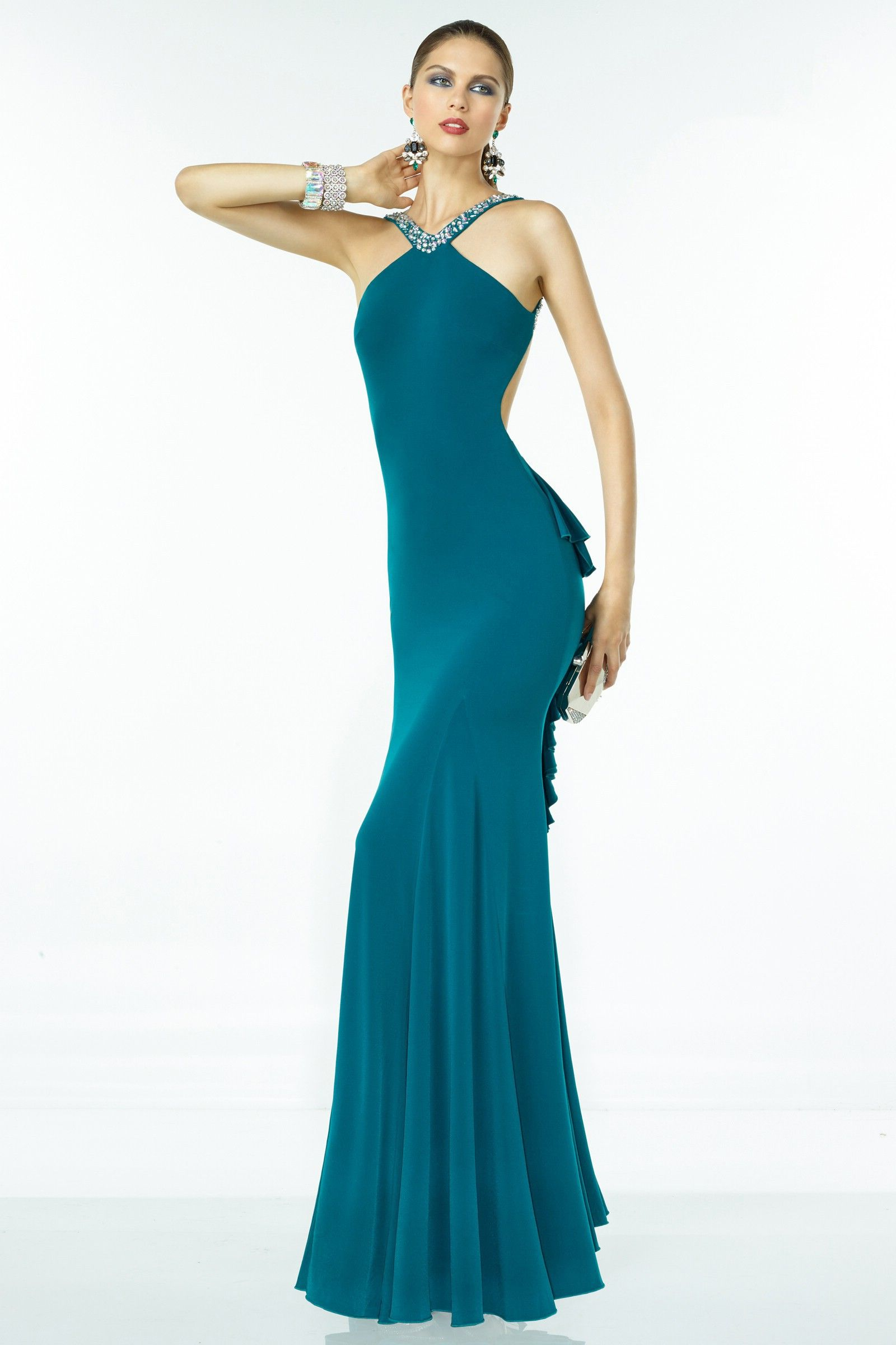 Backless Turquoise Jewel Spandex Sheath Column Evening Dress Cac0186 ...