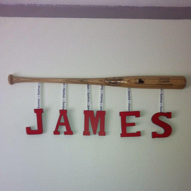 Name On Baseball Bat Baseball Theme Room Kids Baseball Room Baseball Bedroom