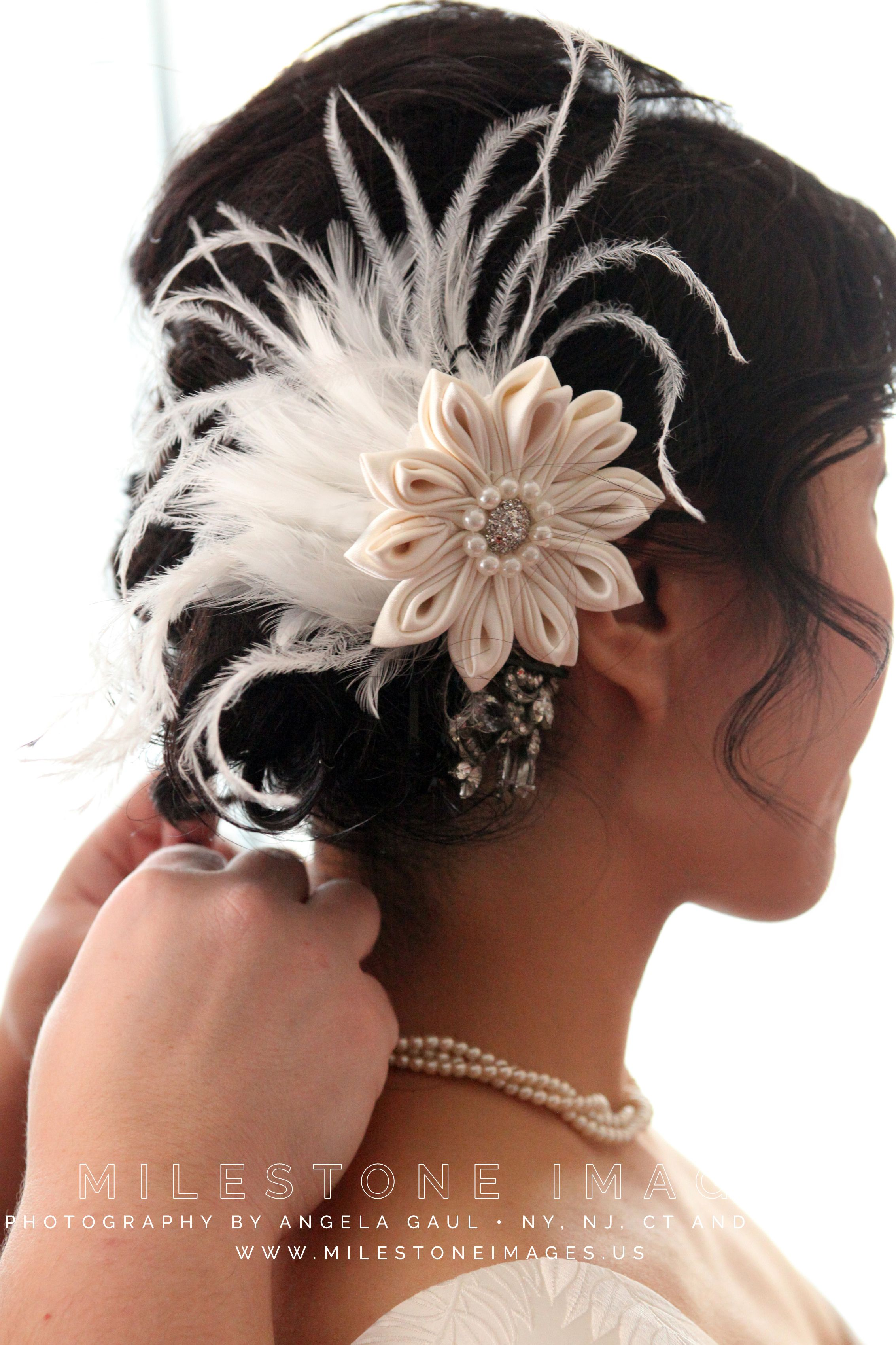 low chignon with fascinator, silky hair texture, asian bride