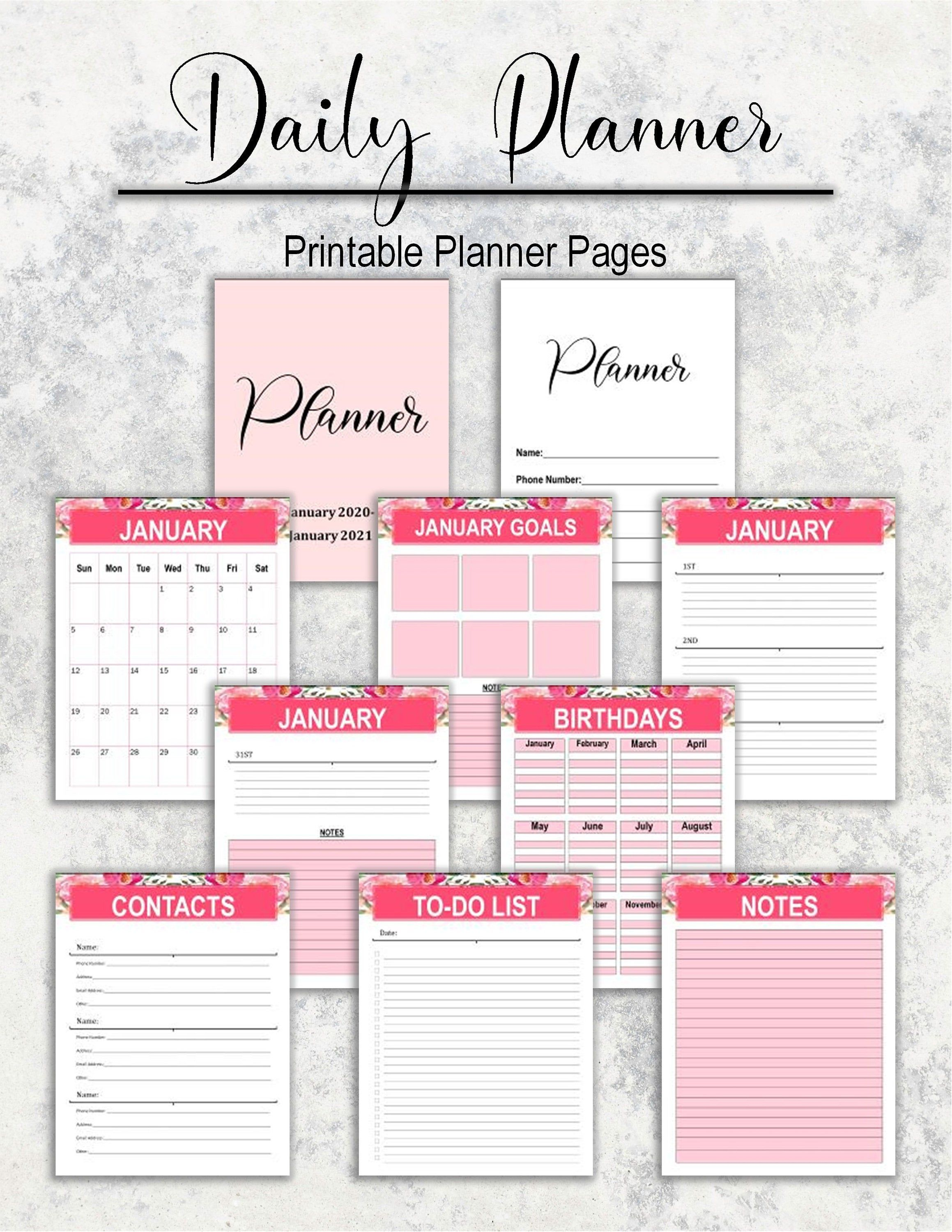 Pretty Pink Daily Planner Letter Format In