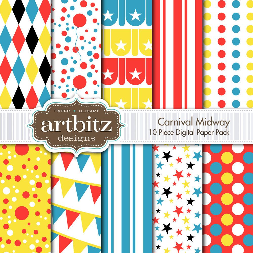 Scrapbook paper etsy - Carnival Midway 10 Piece Circus Themed Digital Scrapbooking Paper Pack 12 X12 300 Dpi Jpg Instant Download