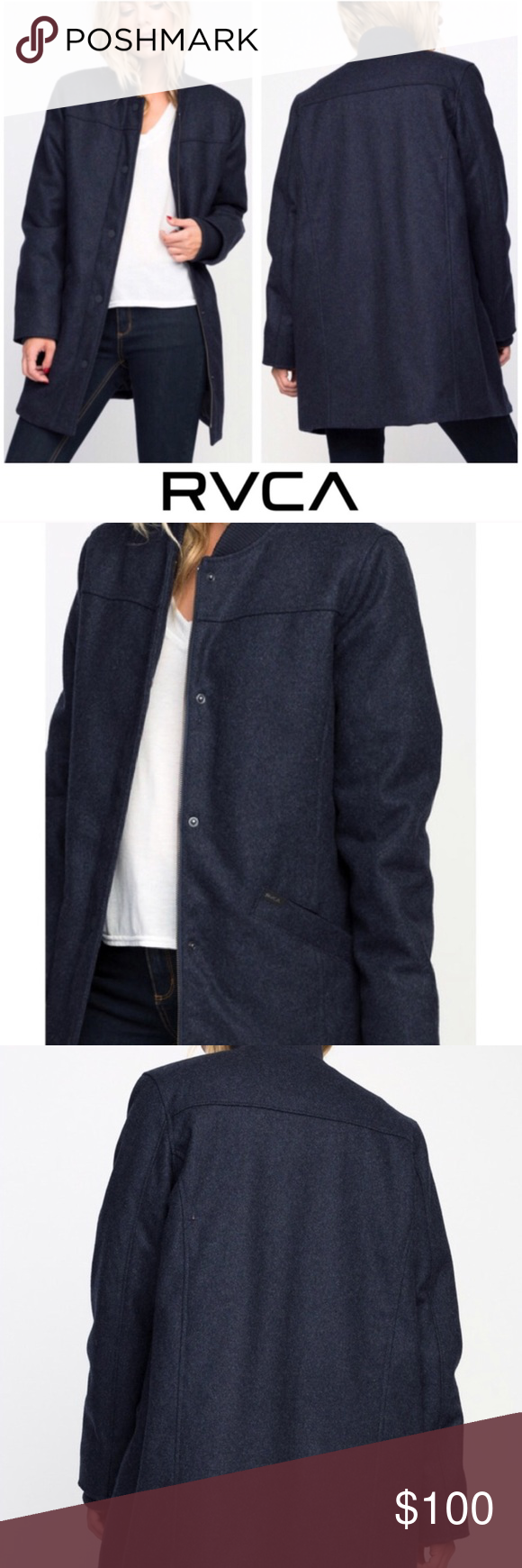 1e1d63db1b RVCA Blue Oversized Wool Button Down Layered Coat 🙃 Make Me An  Irresistible Offer 🙂 • 25%+ Discounts on Bundles • • RVCA MELANGE WOOL  COAT • NWT ...