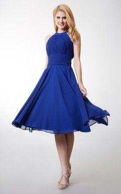 a line royal blue chiffon dress