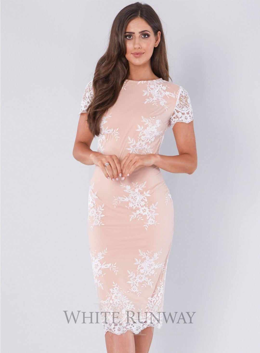 585fd9a4ff58 Laura Lace Dress. A gorgeous midi-length dress by Australian designer  Giselle & Sophia. A pink/nude lace dress featuring cap sleeves and a  scalloped lace ...